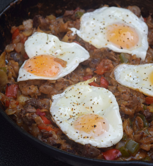 Philly steak and cheese breakfast hash