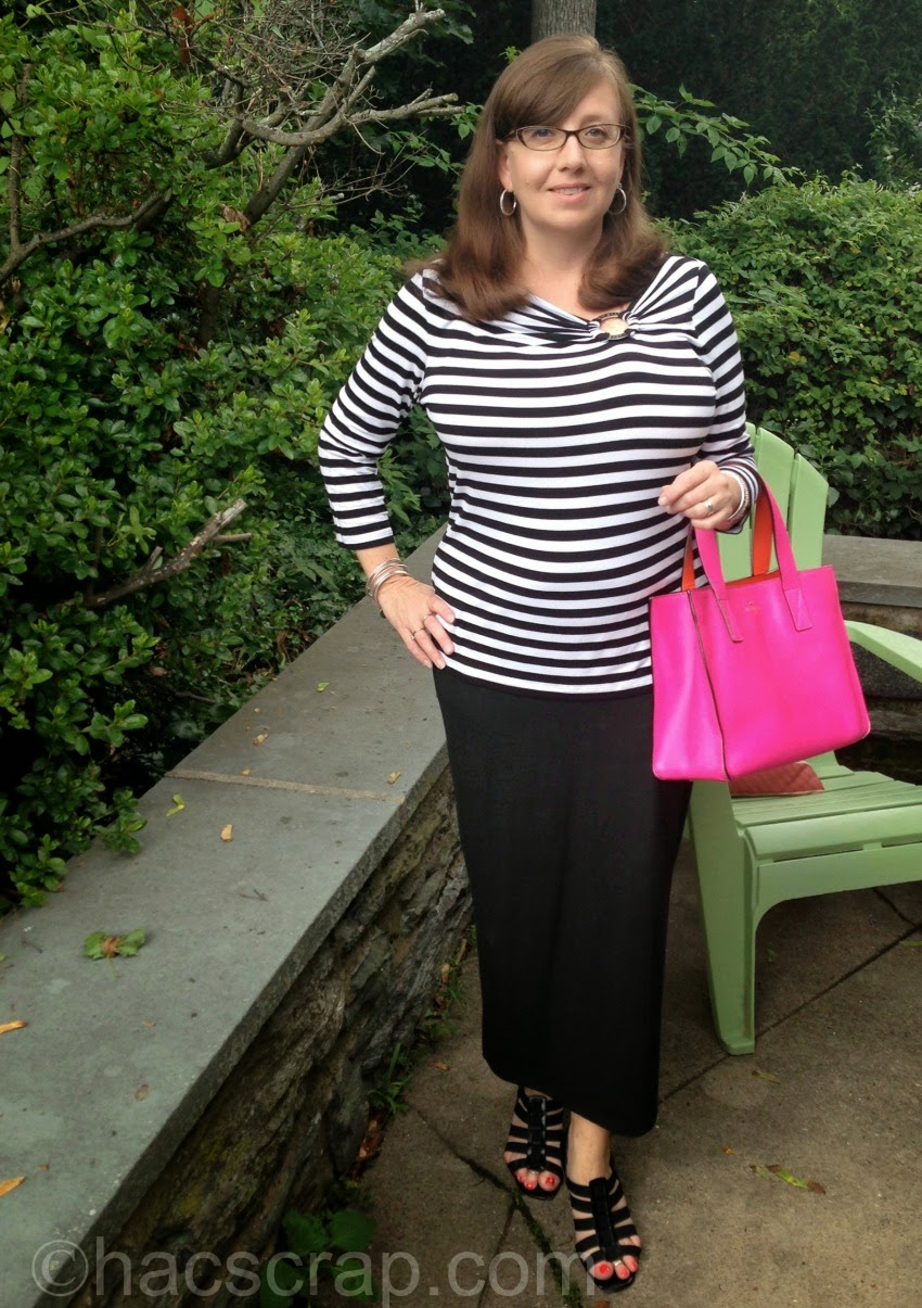 What I Wore - Black Maxi Skirt with Striped Tee #ootd