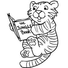 Printable Baby Tiger Read Books Coloring Pages