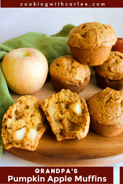 The warm fall flavors of pumpkin, apples and pumpkin pie spice always go so well together. These soft muffins bring them all together in every tasty bite.  They are easy to make and freeze beautifully.  Plus you get that big rounded muffin top just like at the bakeries.  Your fall morning will be that much better if it starts with a mug of seasonal coffee or tea and one of these muffins!