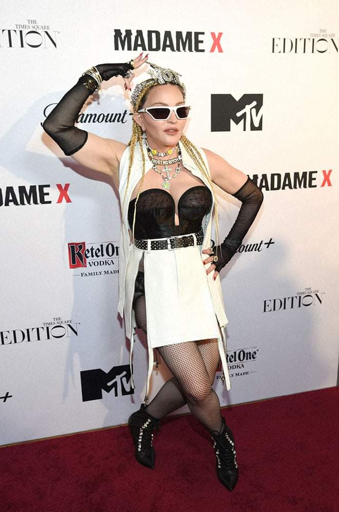 Madonna arrives at the premiere of her concert film 'Madame X