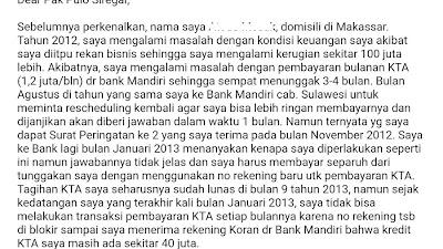 Blokir sepihak Bank Mandiri (37) Tidak Bisa Melakukan Transaksi