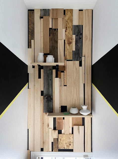 modern wood wall with paint