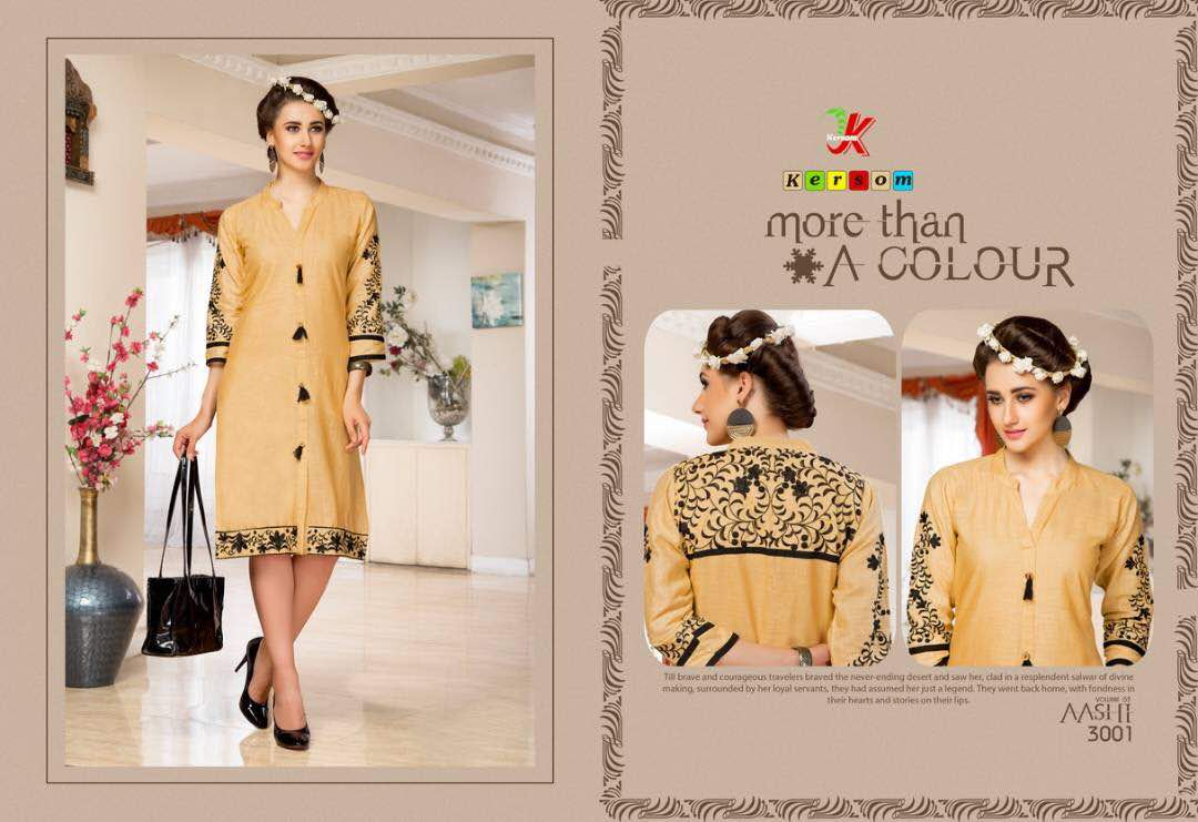 Kersom Aashi Vol 3 new Arrival Cotton Slub Kurti Collection only 399