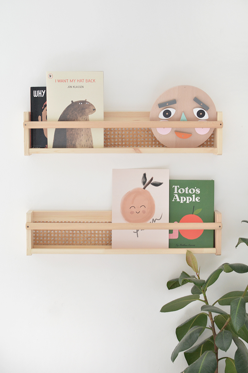 ikea bookshelves with cane webbing