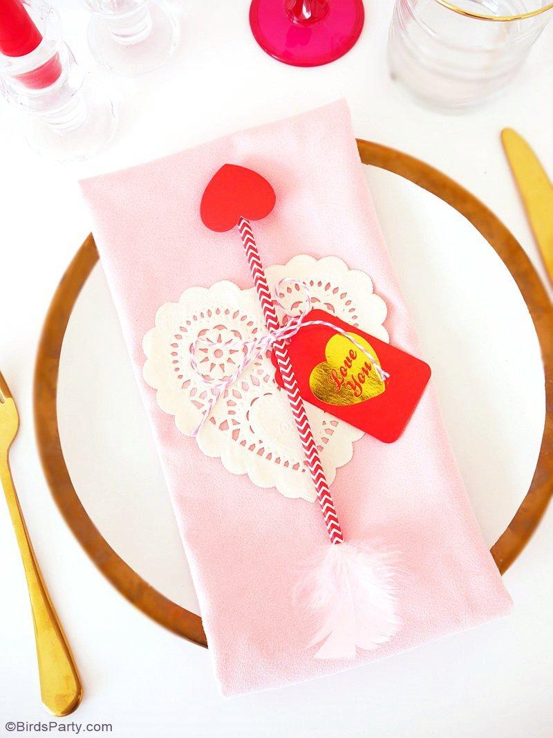 Déco de Table de Dernière Minute pour la Saint Valentin - idée facile et rapide pour décorer votre table joliment pour le repas de la saint Valentin! | BirdsParty.fr
