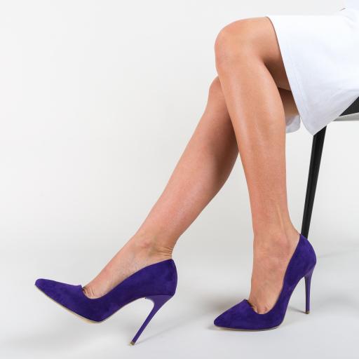 Pantofi de birou din piele intoarsa eco albastri