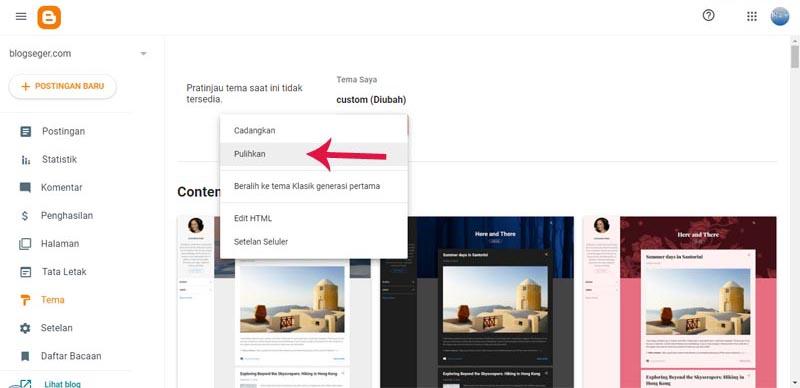 Cara Mengganti template blogger