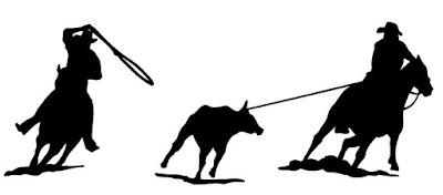 team roping, horses