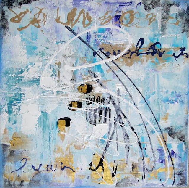 Peinture abstraite hivernale, polaire, tons bleu, turquoise
