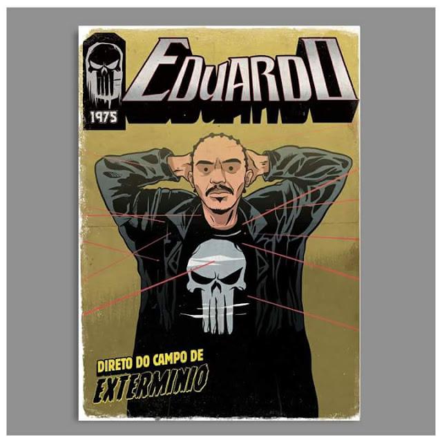 Rap em quadrinho - Eduardo é retratado como Justiceiro, o anti-heroi da Marvel.