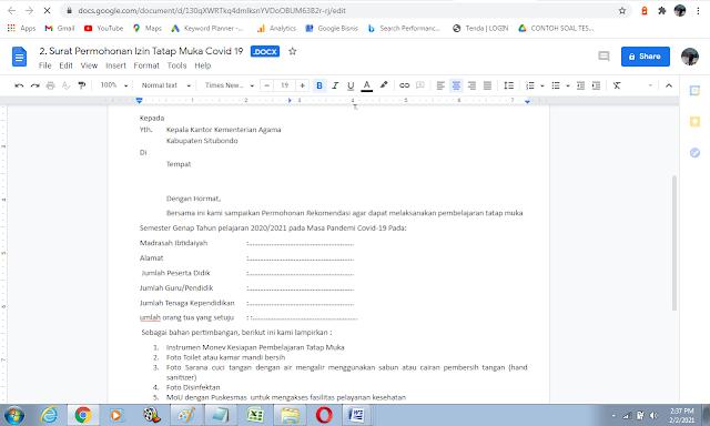 Contoh surat permohonan izin pembelajaran tatap muka di sekolah