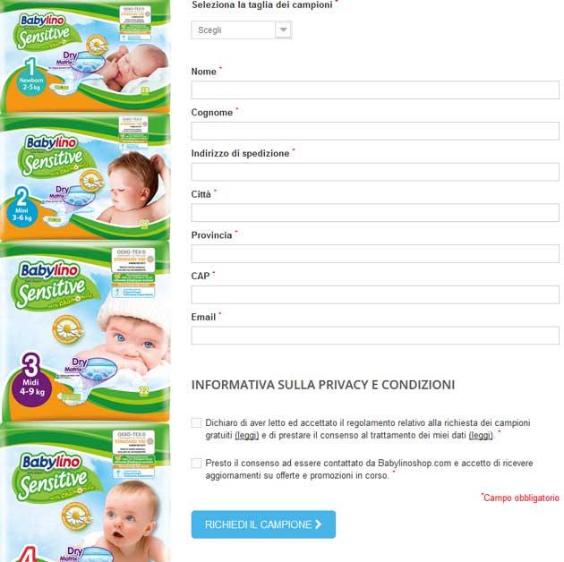 Campioni gratuiti pannolini Babylino Sensitive