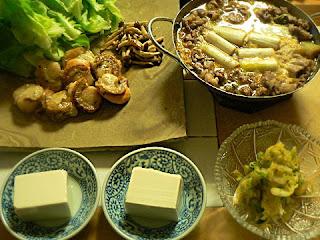 夕食の献立 牛鍋 ホタテバター焼き 白菜醤油漬け