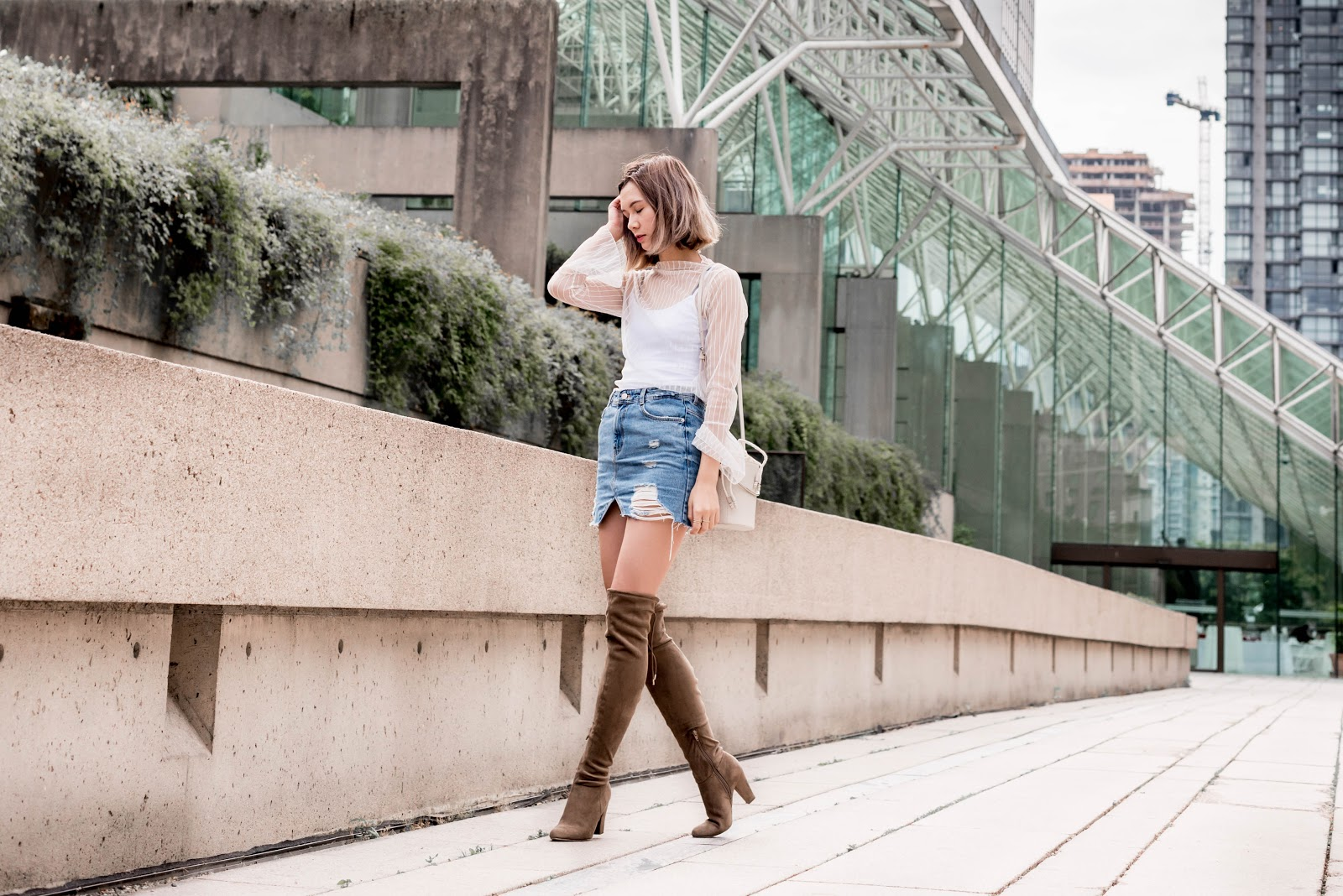 Oak and Fort, mesh top, denim skirt, bucket bag, stuart weitzman, over the knee boots, vancouver fashion, canadian fashion, fashion blogger,  fashion blog, zara