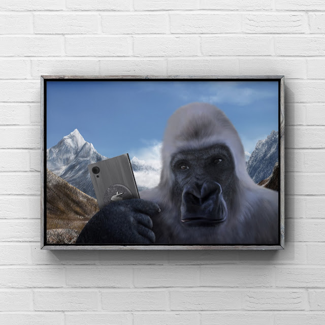 Yeti holding a cell phone artwork