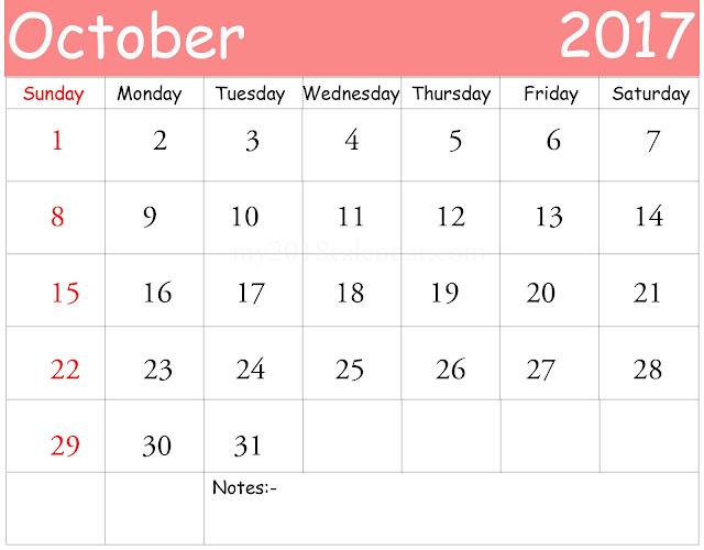 October 2017 Calendar, Printable October 2017 Calendar, October 2017 Calendar Printable, October Calendar 2017, October 2017 Calendar Template