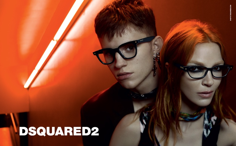 Mariacarla Boscono and Andreas Wolf appear in DSquared2 Eyewear fall-winter 2019 campaign