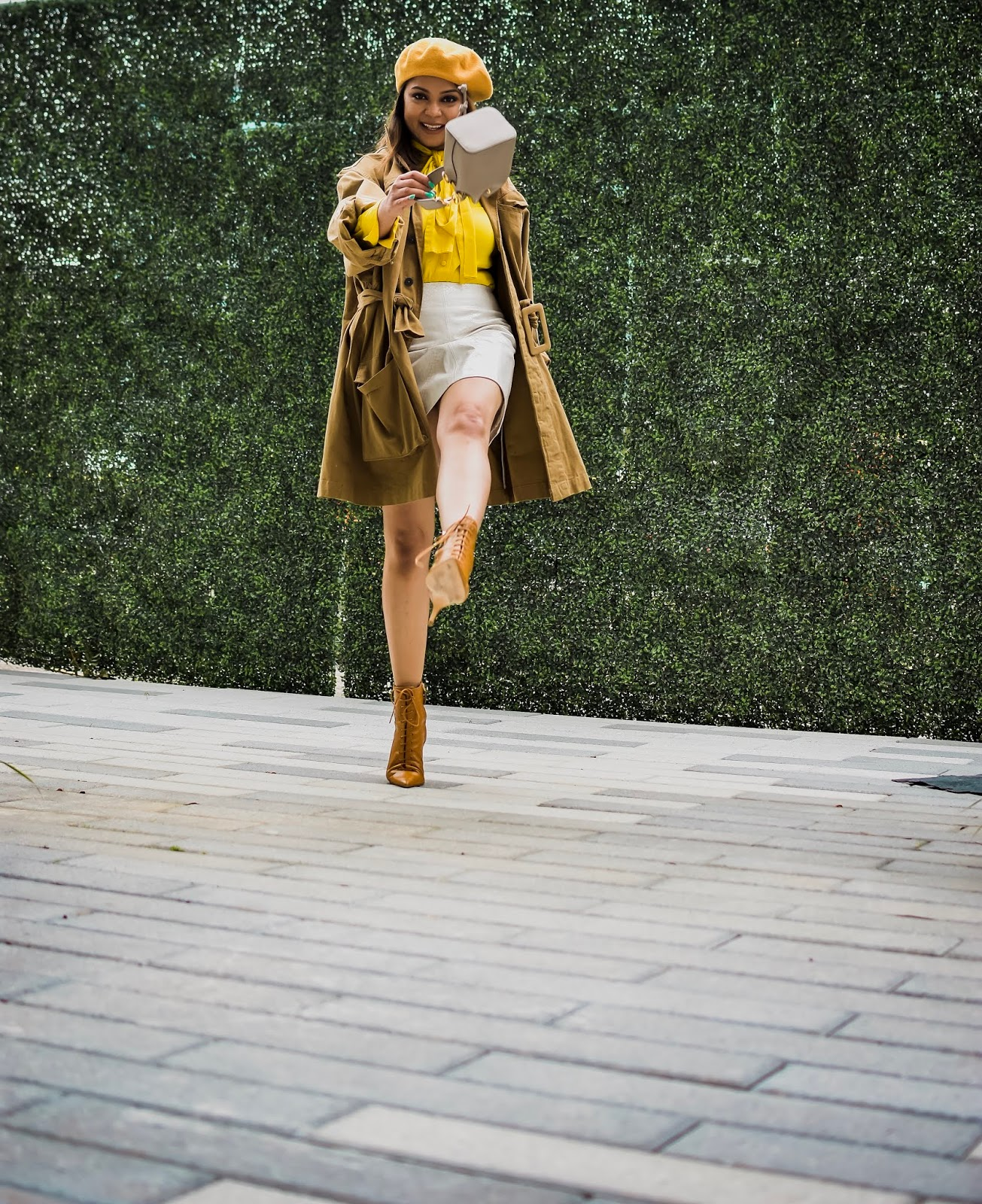 fall fashion, how to style a mini leather skirt, white leather skirt, boxy H&M jacket, pointy toe kitten booties, yellow beret, parisian style, fend bucket bag, yellow pussy bow blouse, myriad musings, saumya shiohare