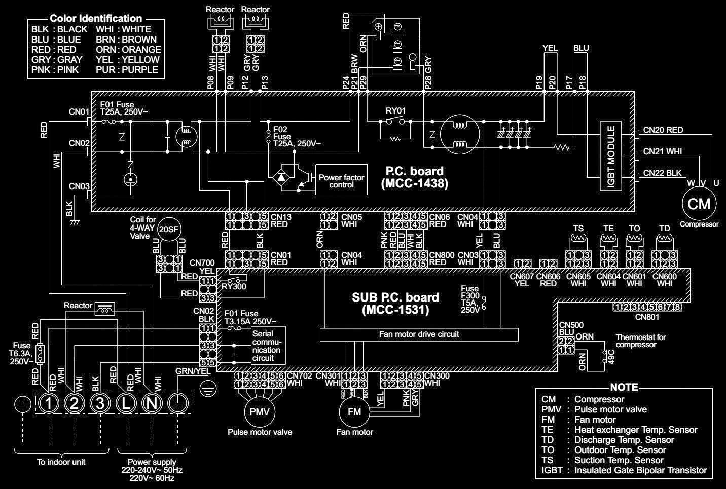 split ac indoor unit motor wiring diagram fog lamp toshiba air conditioner rav sm562at sm1402at