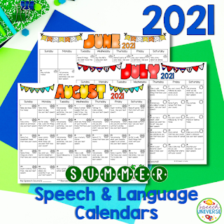 These summer speech and language calendars are exactly what you need to send home for busy families over your summer break.  The calendar pack includes both articulation and language calendars with activities for each day of the month.  June-August included.