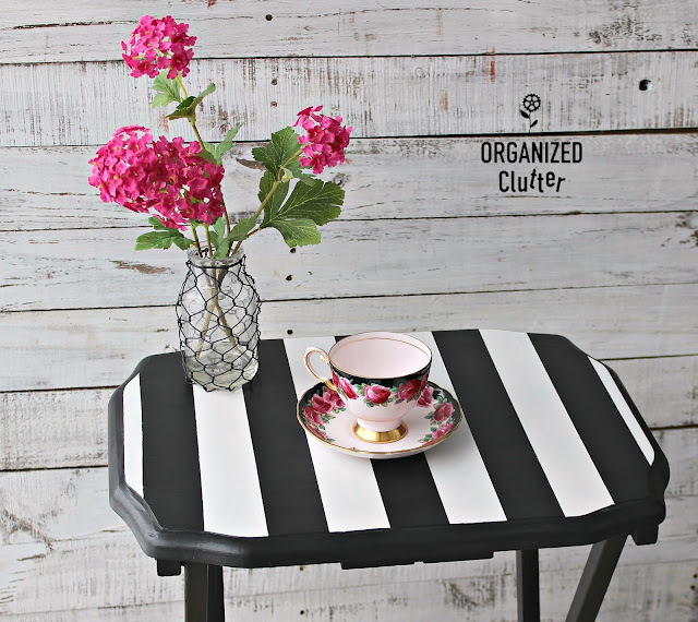 Upcycled Tray Tables With Black And White Stripes #upcycle #garagesalefinds #dixiebellepaint #stripes #frogtape