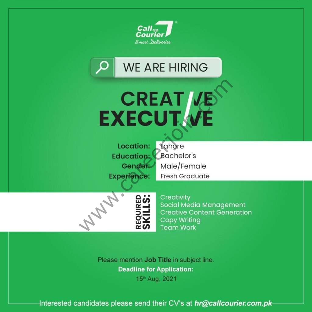 Call Courier Pvt Ltd Jobs Creative Executive
