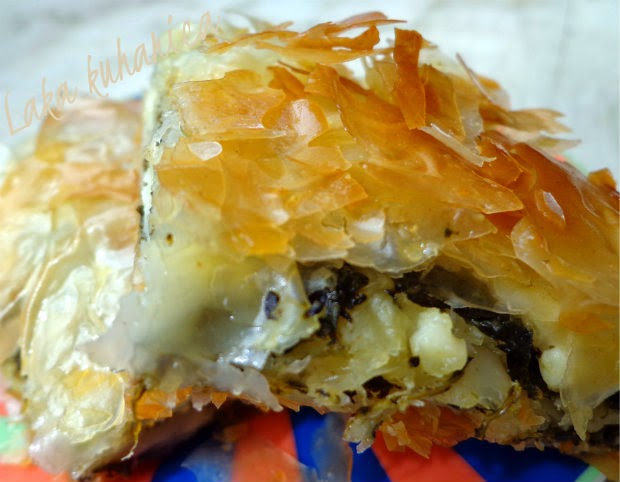 Spanakopita by Laka kuharica: crisp filo envelopes a fresh-tasting filling in this savory spinach pie.