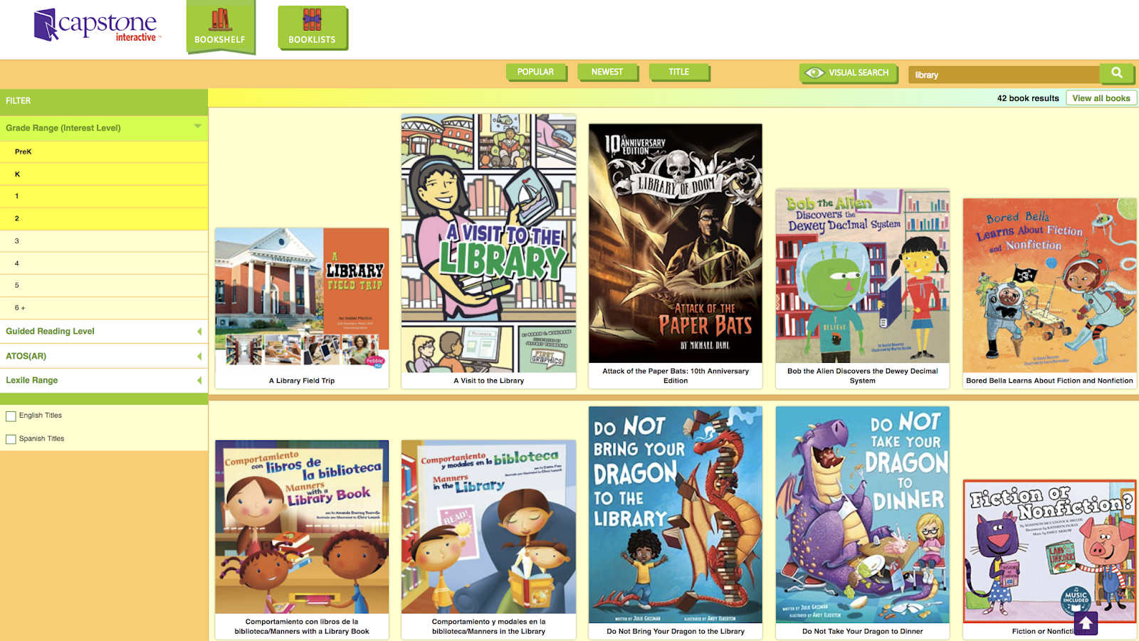 For Example I Typed In Library And It Brought Back Lots Of Books Capstone