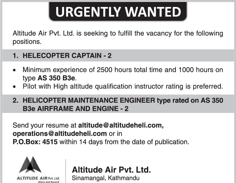 Helicopter Maintenance Engineer Jobs Vacancy  Altitude Air
