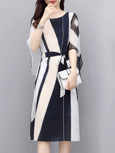 Fashion Slim Fit Colorblock Shift Dress