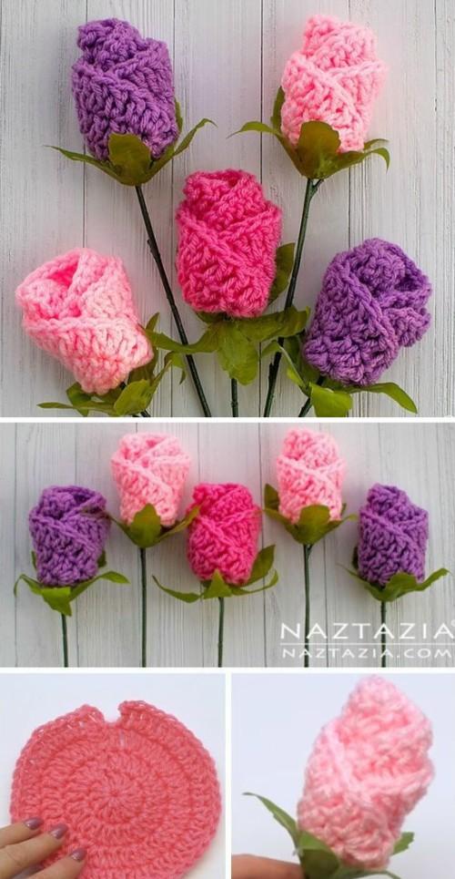 Crochet Simple Origami Rose Flower - Tutorial