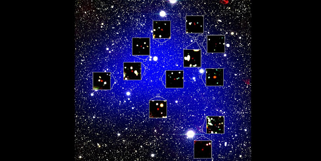 The blue shading shows the calculated extent of the protocluster, and the bluer color indicates higher density of galaxies in the protocluster. The red objects in zoom-in figures are the 12 galaxies found in it. This figure shows a square field-of-view 24 arcminutes along each side (corresponding to 198 million light-years along each side at a distance of 13.0 billion light-years). Each zoom-in figure is 16 arcseconds along each side (corresponding to 2.2 million light-years). Credit: NAOJ/Harikane et al.