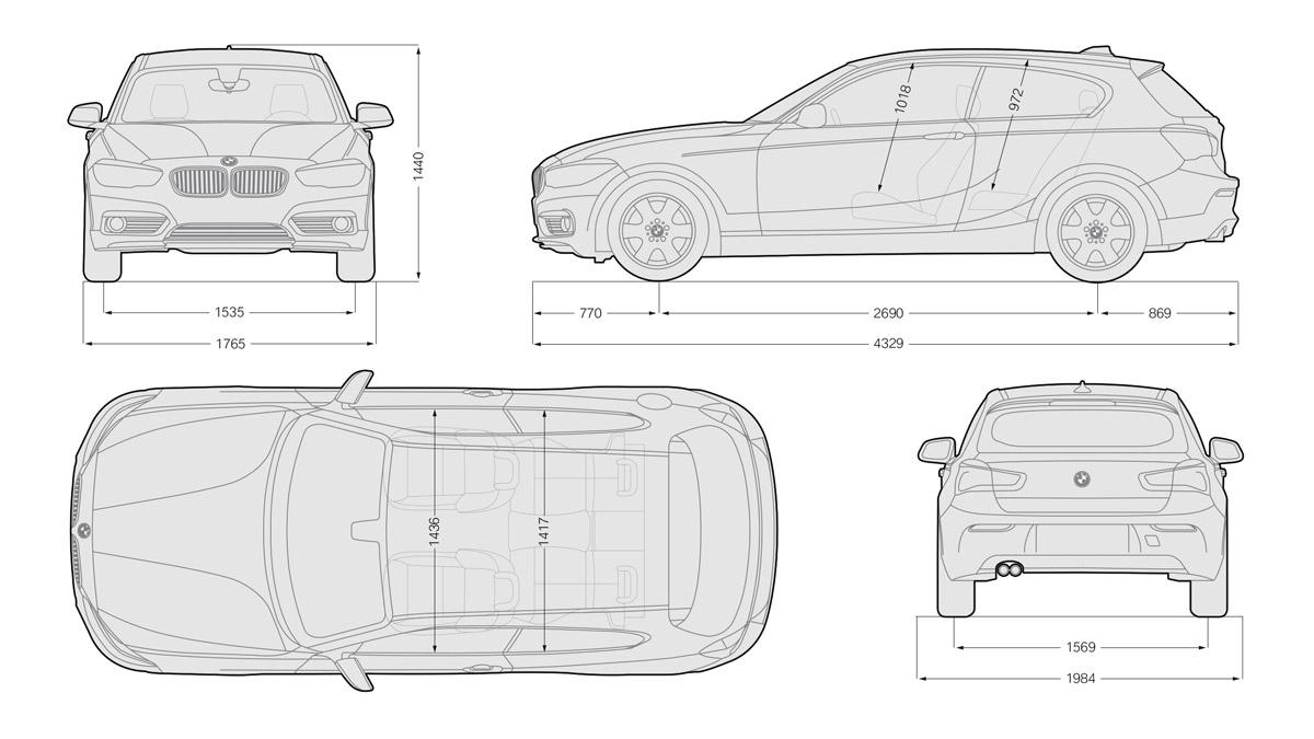 Schema tecnico quotato con tutte le dimensioni e misure di BMW Serie 1 (3 porte)