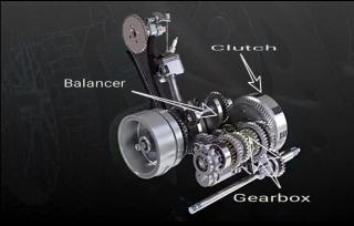Gambar komponen dalam enjin 4t iaitu clutch,gearbox,balencer