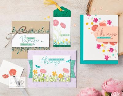 Stampin' Up! Field of Flowers Spotlight Card + 5 Bonus Projects ~ www.juliedavison.com #stampinup