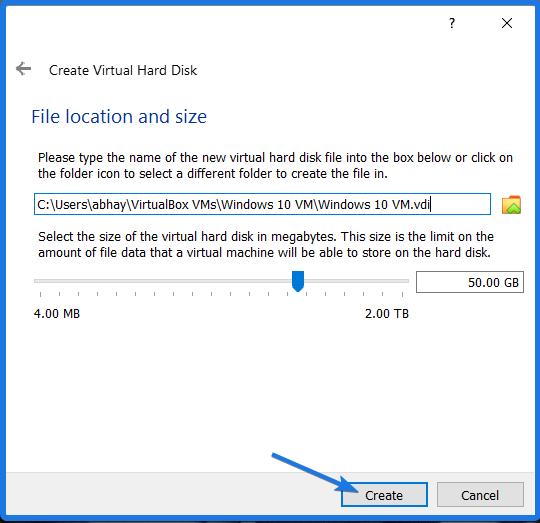 Virtual Hard Drive Size Location