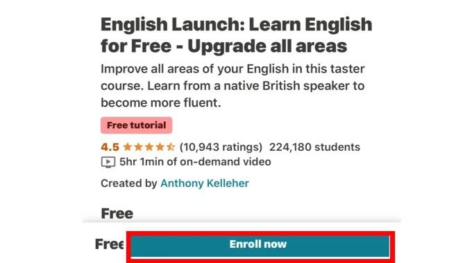 تقيم كورس تعليم اللغة الانجليزية اون لاين مجانا من موقع يوديمي