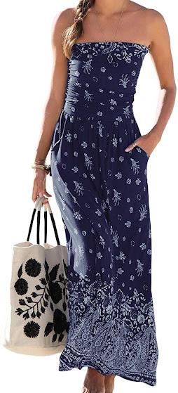Best Strapless Smocked Maxi Dresses