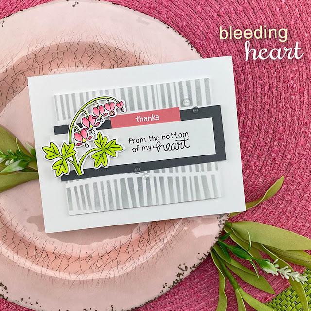 Bleeding Heart thank you card by Jennifer Jackson | Bleeding Heart Stamp Set by Newton's Nook Designs #newtonsnook