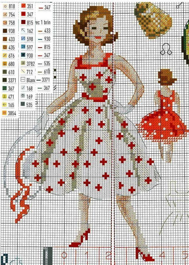 Схема вышивки МОДНИЦА-портниха. Вышиваем крестиком декоративное панно.