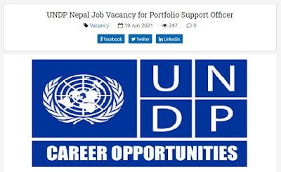 UNDP Nepal Job Vacancy for Portfolio Support Officer