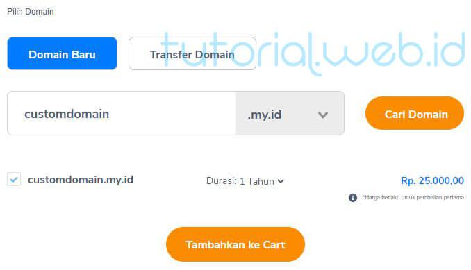 Cara beli domain Niagahoster 3 Tambahkan ke Cart