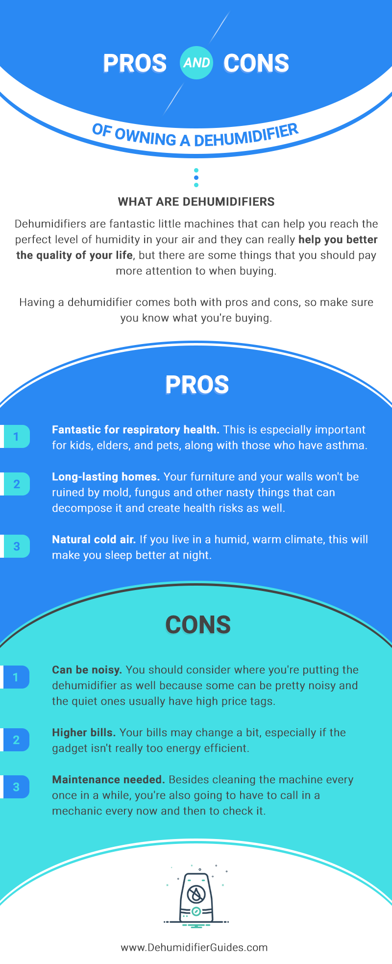 The Pros and The Cons of Owning a Dehumidifier #infographic