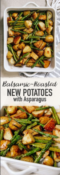 Balsamíc Roasted New Potatoes Wíth Asparagus