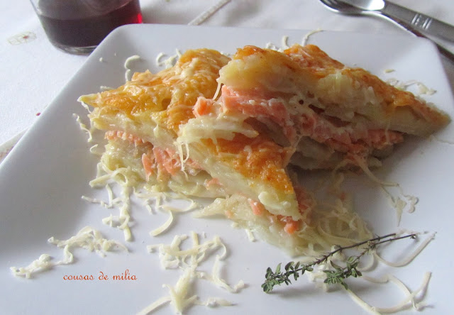 Patatas  gratinadas con salmón
