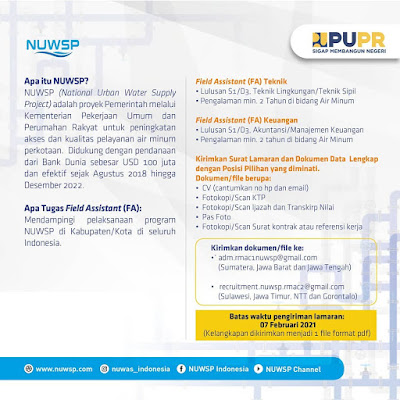 Lowongan Kerja Field Assistant di National Urban Water Supply Project