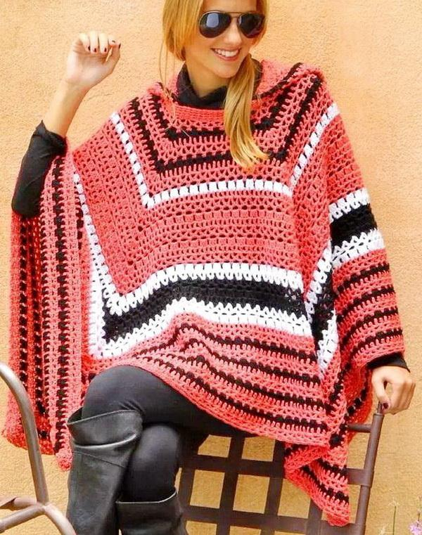 Hooded crochet poncho patterns for women