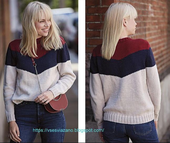 Пуловер из 3 цветов пряжи с кокеткой уголком. Пристроим остатки!