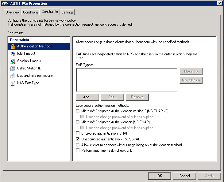 Microsoft NPS, Authenticating user for VPN and device Management